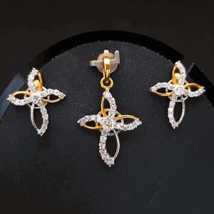 Diamond Pendant Set (Earring, Locket) - ডায়মন্ড বা হীরার লকেট সেট