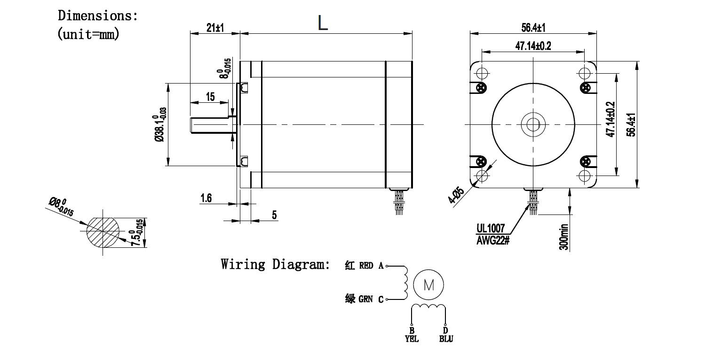 hight resolution of nema 23 stepper motor drawing