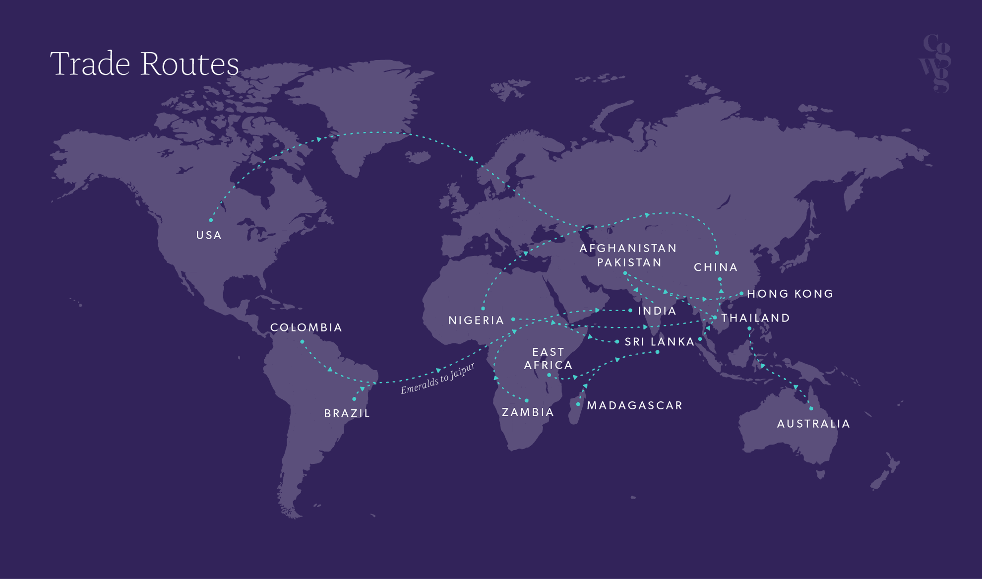 A map of some of the principal global coloured trading routes worldwide