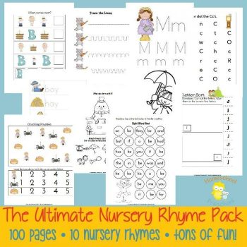 Teaching With Nursery Rhymes 100-page Pack, part of my kindergarten curriculum this year