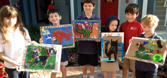 My happy young artists and their assemblage masterpiece!