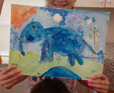 Blue Watercolor Elephant
