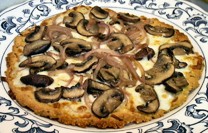 Mushroom Amp Onion Pizza With Pork Rind Pizza Crust Linda