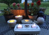 Cement votives on a summer night.
