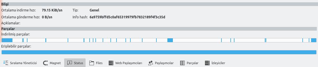 KTorrent indirilen parçalar