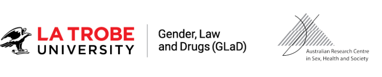 La Trobe Gender, Law and Drugs logo. Australian Research Centre in Sex, Health and Society logo