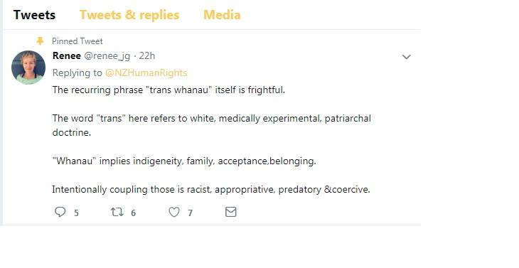 """A Tweet from Renee Gerlich campaigner which reads: """"the recurring phrase """"trans whanau"""" itself is frightful. The word """"trans"""" here refers to white, medically experimental. patriarchal doctrine. """"Whanau"""" implies indigeneity, family, acceptance, belonging. Intentionally coupling those is racist, appropriative, predatory, and coercive."""""""