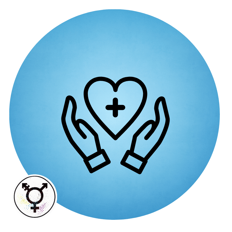 Icon of two hands holding a heart with a medical cross in it.