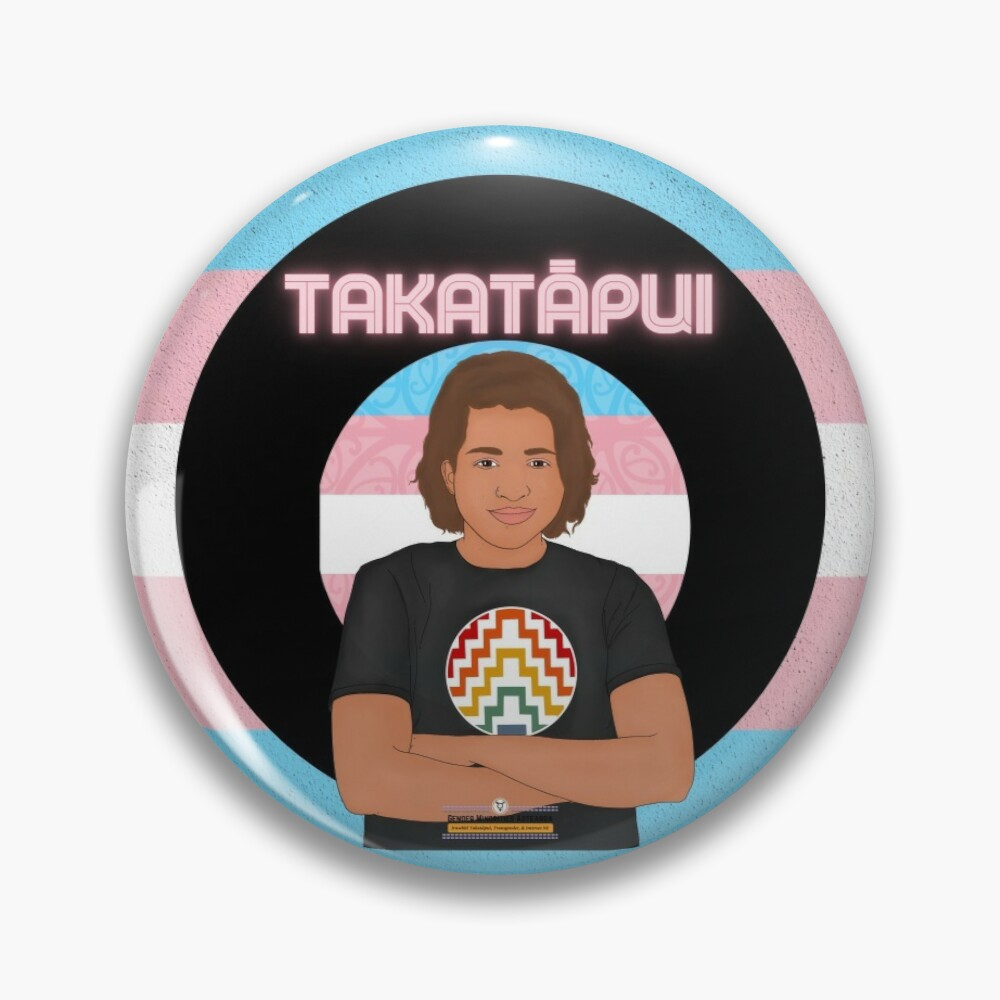 Badge: transgender flag with a young Maori trans person. Takatapui.