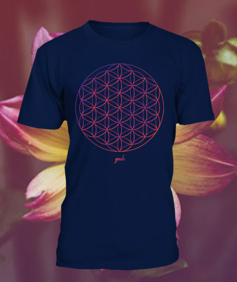 Gendu T-Shirt Blume des Lebens blau