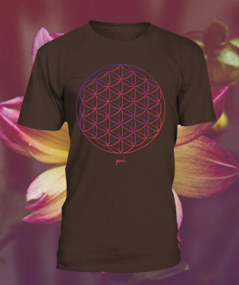 Gendu T-Shirt Blume des Lebens braun