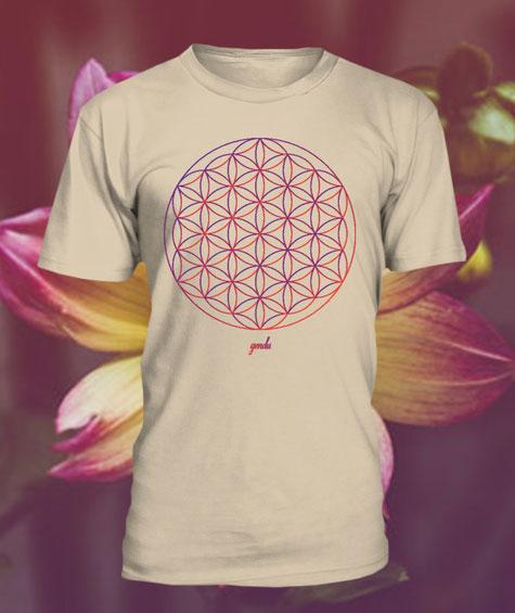 Gendu T-Shirt Blume des Lebens sand