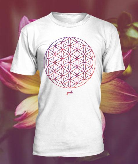 Gendu T-Shirt Blume des Lebens weiß