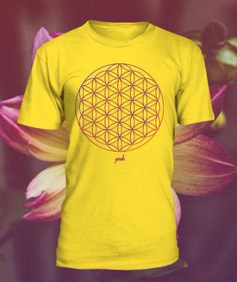 Gendu T-Shirt Blume des Lebens gelb
