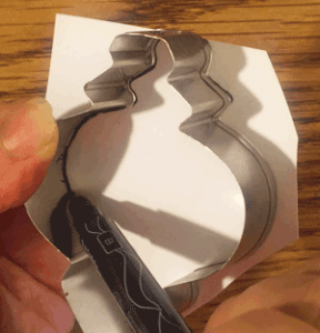 Making a template from the cookie cutter.