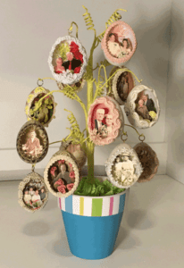 Panorama Egg Display featuring eggs with photographs of Ancestors and Family