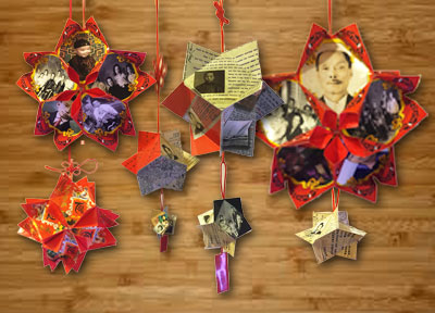 Hung Bow lanterns made with family photographs