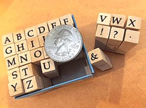Tiny alphabet stamps