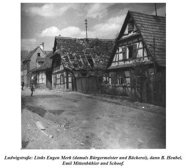 Destruction in Berg during World War II