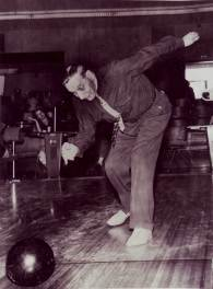 "Ludwig Josef ""Louis"" Stoltz (1866-1958) bowling on his 90th birthday"