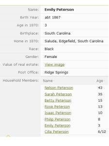 1870 census records for Emily Peterson (1862) - Saluda, Edgefield County, SC