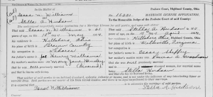 Stella Sheffey's marriage certificate