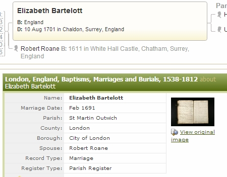 Elizabeth Bartelott & Robert Roane Marriage