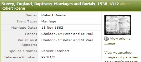 Marriage of Robert Roane and Patience Lambert