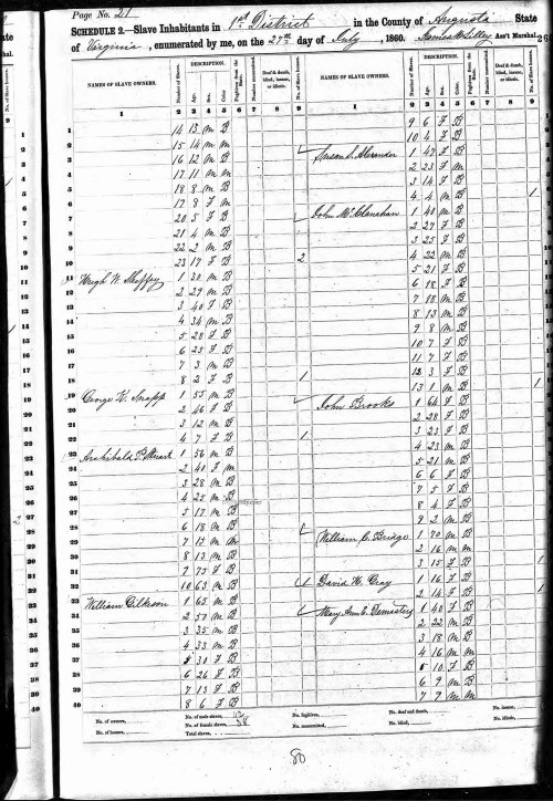 Hugh White Sheffey 1860 Slave Schedule