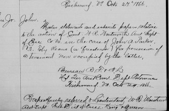 """Parker vs Roane. Letter dated 27 Oct 1866. Citation: - """"Virginia, Freedmen's Bureau Field Office Records, 1865-1872,"""" index and images, FamilySearch (https://familysearch.org/pal:/MM9.1.1/FPNH-QM2 : accessed 16 Jul 2014), Toby Roans, ; citing NARA microfilm publication M1913, National Archives and Records Administration, College Park, Maryland; FHL microfilm 2413681."""