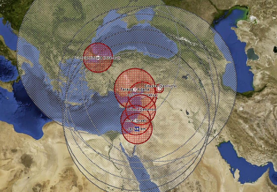Map of potential spread of crusader DNA from the Holy Land