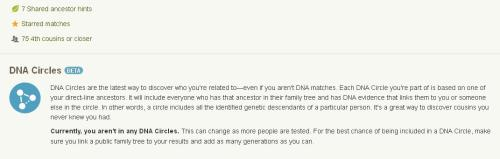cropped screengrab of my Ancestry DNA landing page