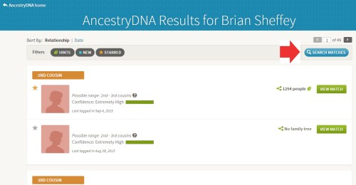 image showing my AncestryDNA family matches landing page