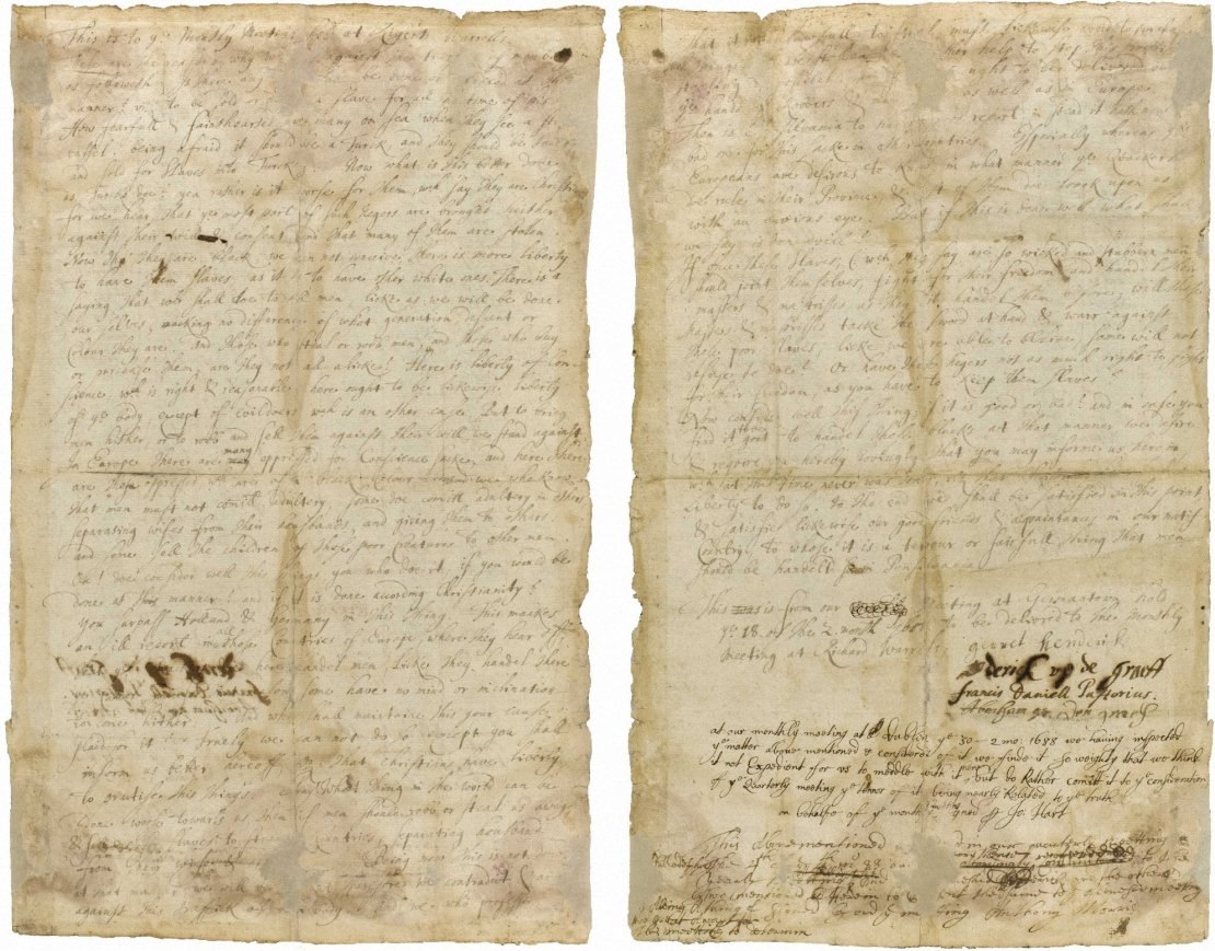 image of the 1688 Germantown Quaker Petition Against Slavery