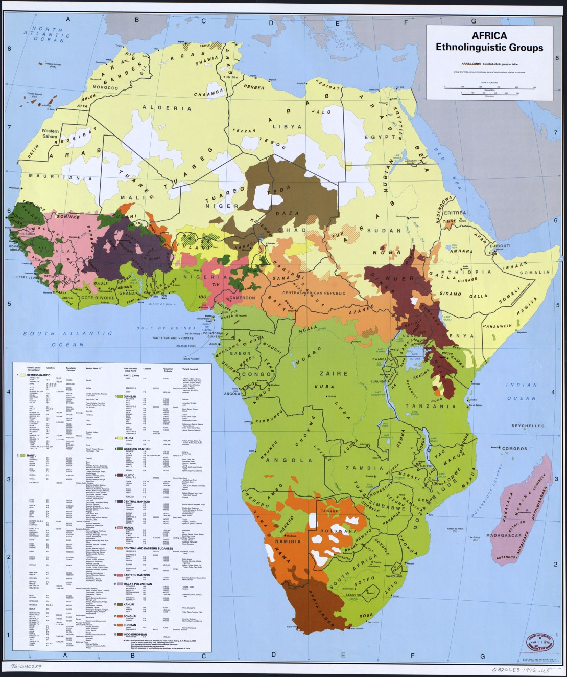 Map showing the main ethnicities in Africa.