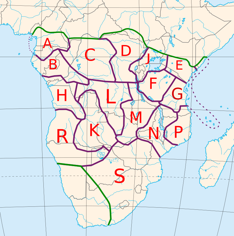 The approximate locations of the sixteen Guthrie Bantu zones, including the addition of a zone J around the Great Lakes.