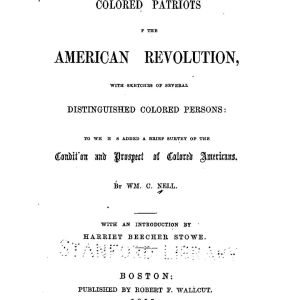 Colored patriots of the US Revolution cover