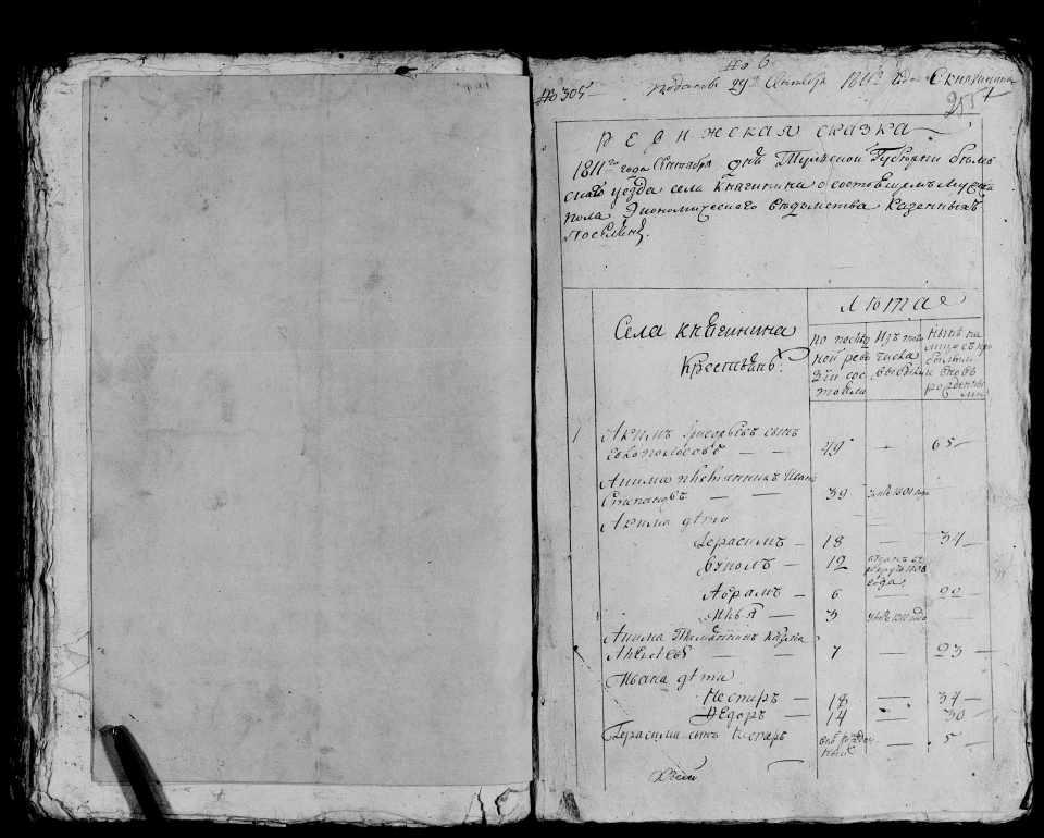 Ревизская сказка 1811 года, Княгинено