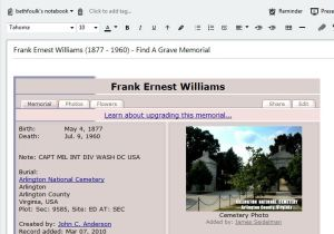 Frank E Williams - findagrave - in Evernote