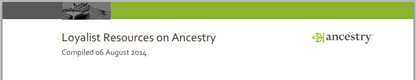 Loyalist Resources on Ancestry