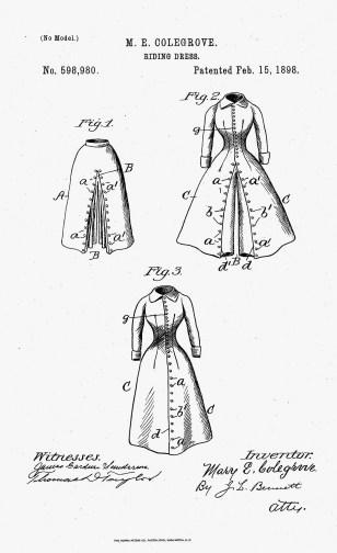Riding Dress patent, 1898