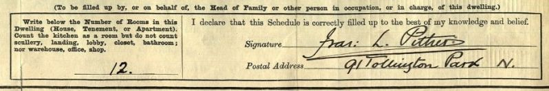 Pither signature on 1911 census