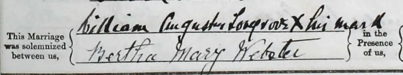 William Augustus Lovegrove and Bertha Mary Webster signatures