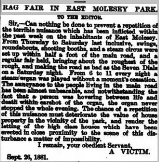 Newspaper Article detailing a complaint about noise from the Rag Fair