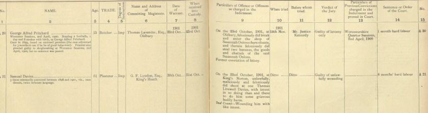 Criminal record of Samuel Livewell Davies