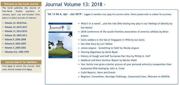 Journal of the Guild of One Name Studies (JOONS)