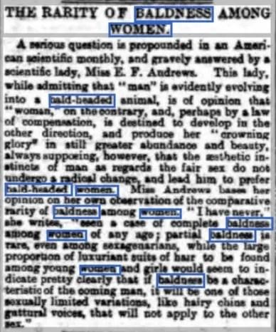 Newspaper article 1893 on bald women