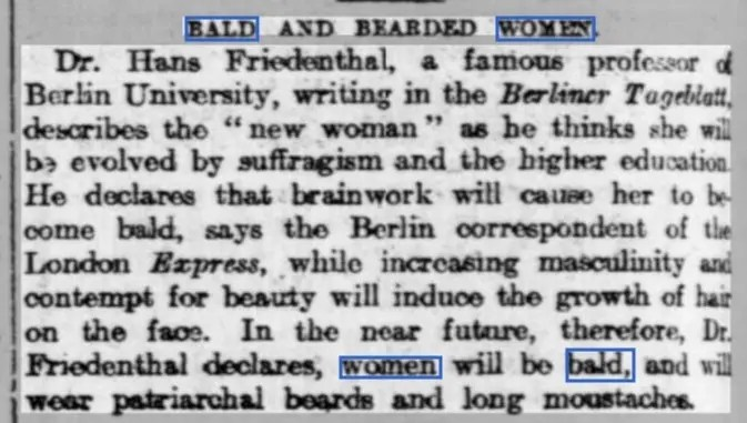 Newspaper article suggesting that suffragettes will cause women to be bald and have facial hair.