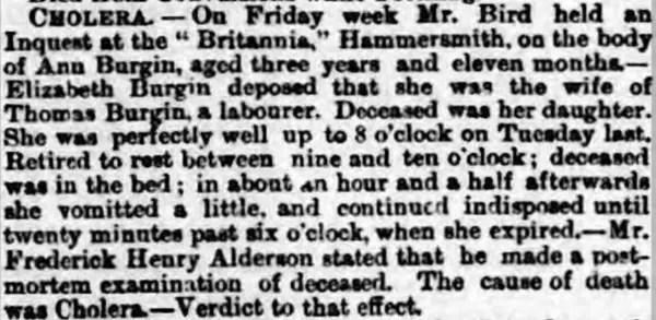Newspaper article stating Thomas' child died of cholera