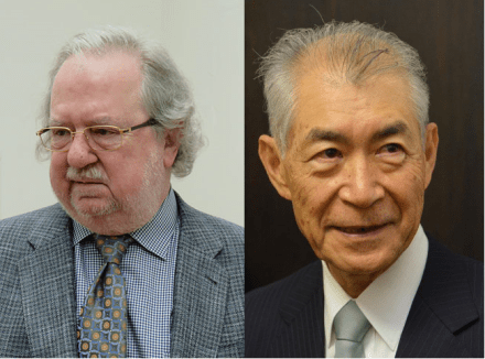圖左為:James P. Allison in 2015。圖右為:Honjo Tasaku in 2013 。